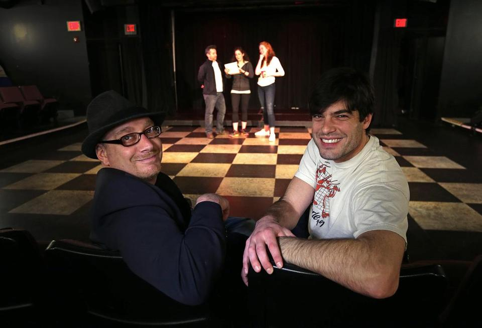 "Producers Gabriel Kuttner (left) and Daniel Berger-Jones watching rehearsal of their ""[Expletive] Shakespeare"" production."