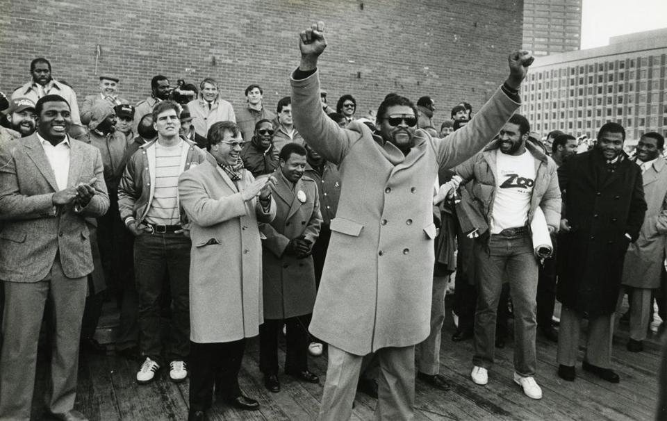 "Mr. Adams attended a rally at Boston City Hall Plaza in January 1986 ahead of the AFC Championship game against the Dolphins. The Patriots ""squished the Fish"" and advanced to Super Bowl XX."