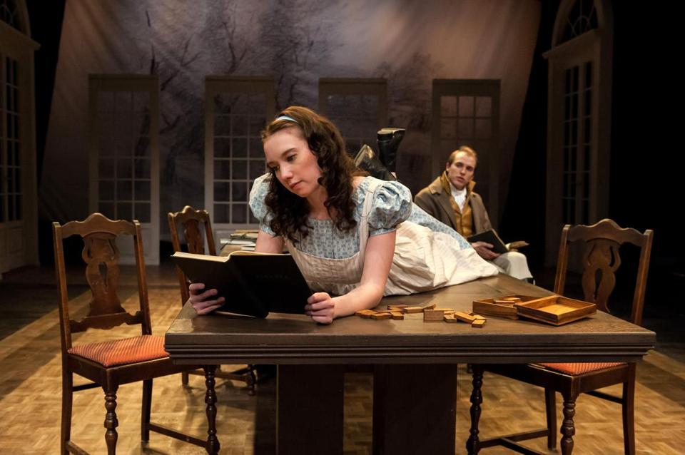 "Kira Patterson and Will Madden in Nora Theatre Company's production of ""Arcadia."""