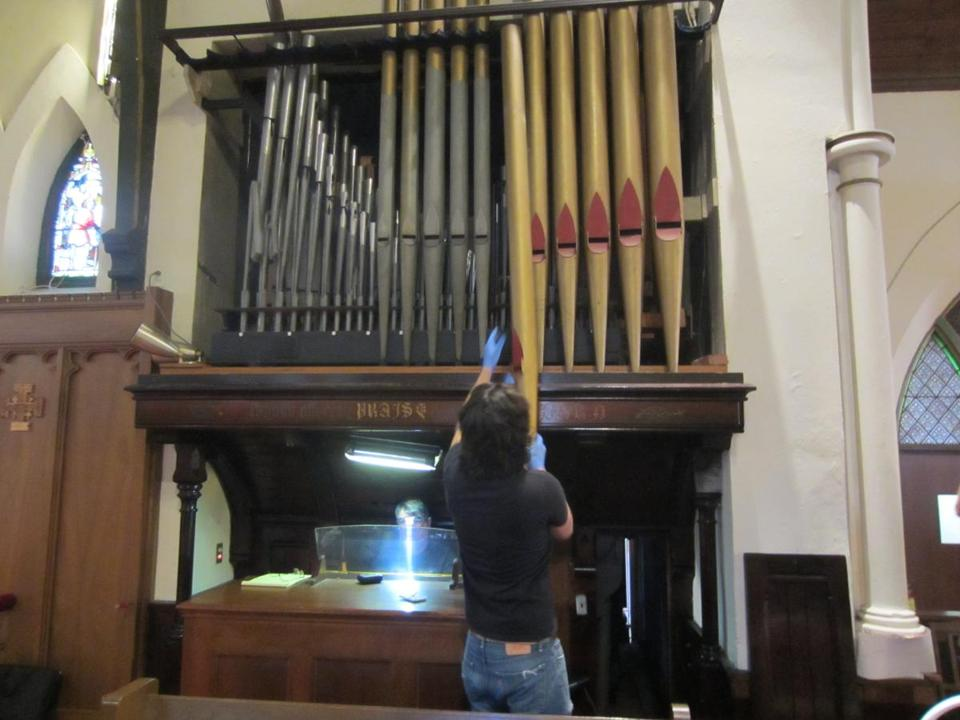 Almost a year ago, on April 13, 2015, workers started removing the pipes from the Grace Episcopal Church organ.