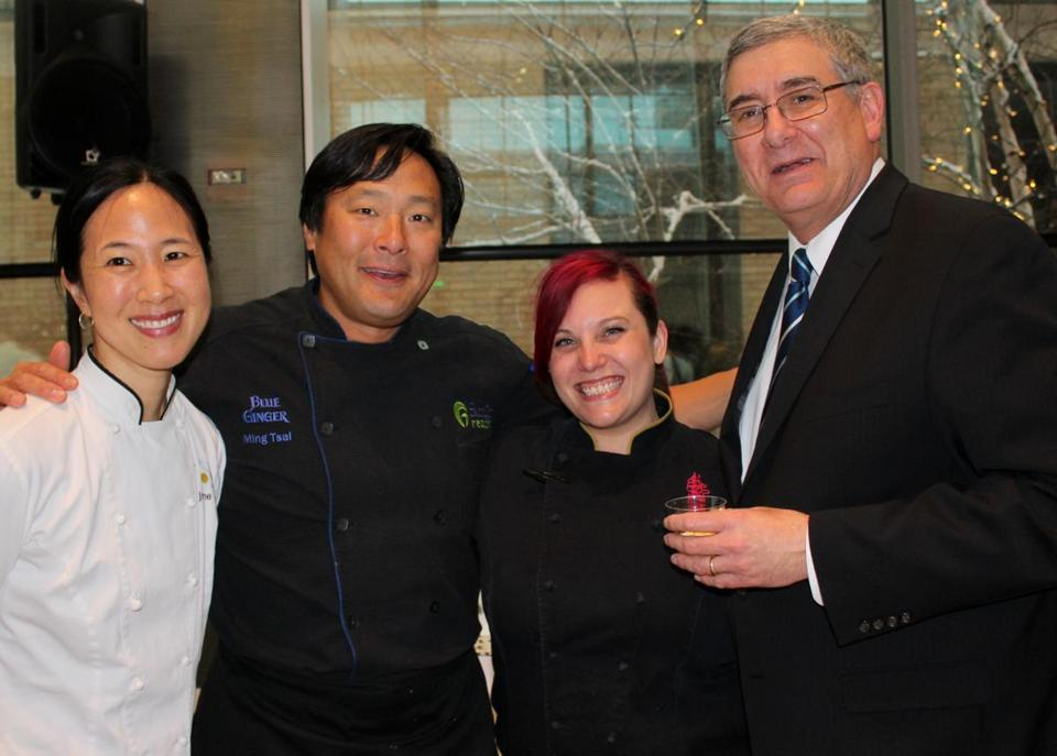 From left: chefs Joanne Chang, Ming Tsai, and Karen Akunowicz, and Joslin Diabetes Center CEO Dr. Peter Amenta.