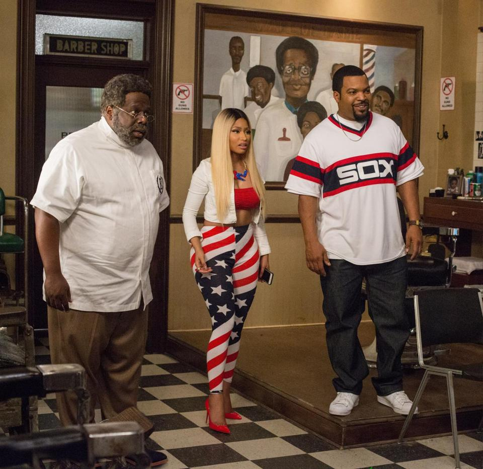 From left: Cedric the Entertainer, Nicki Minaj, and Ice Cube star in the third installment of the series.