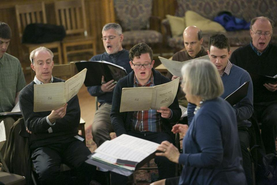 Conductor Mary Beekman leads the choral group Musica Sacra during rehearsal.