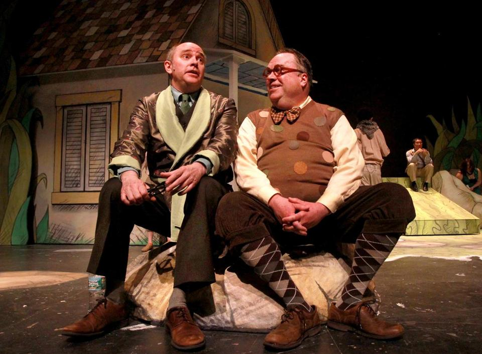 "Neil A. Casey (left) and Larry Coen during rehearsal of ""A Year with Frog and Toad"" at the Wheelock Family Theatre."