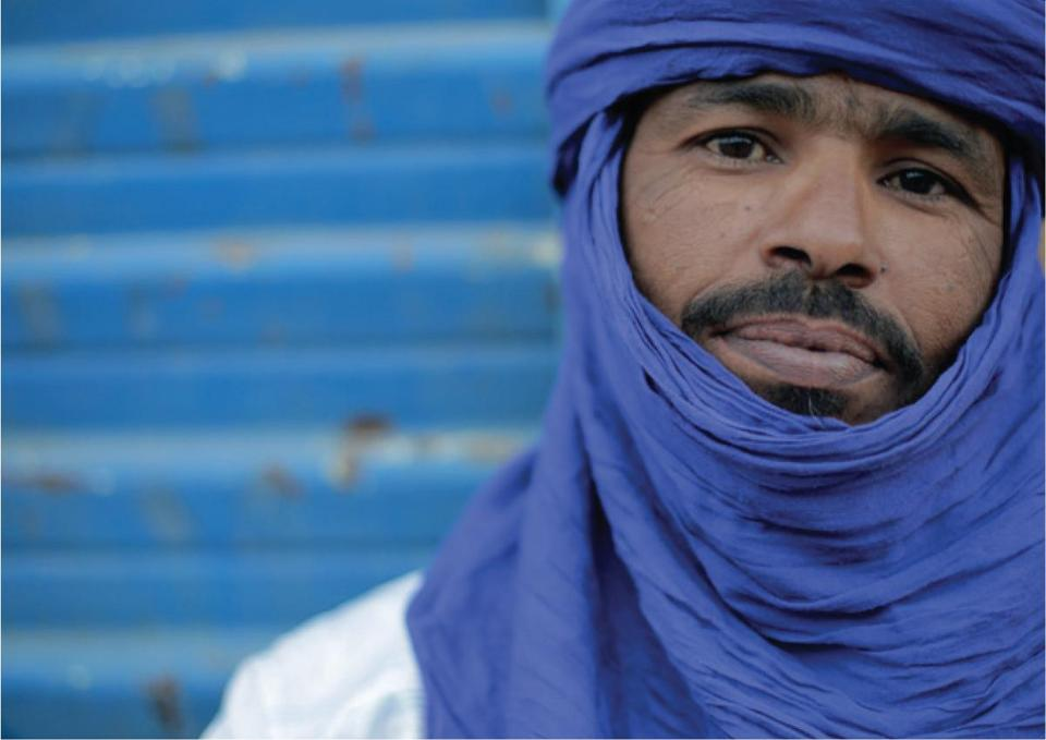 "Musician Moussa Sidi in ""They Will Have to Kill Us First: Malian Music in Exile."""