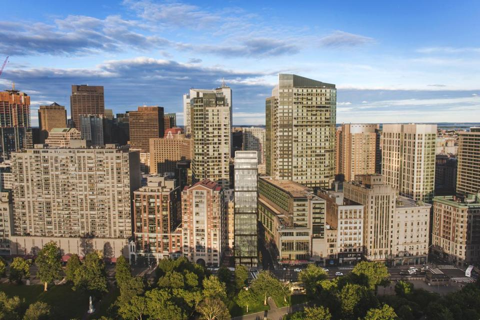 A rendering of the latest version of the narrow condo tower proposed for 171 Tremont St., overlooking Boston Common.