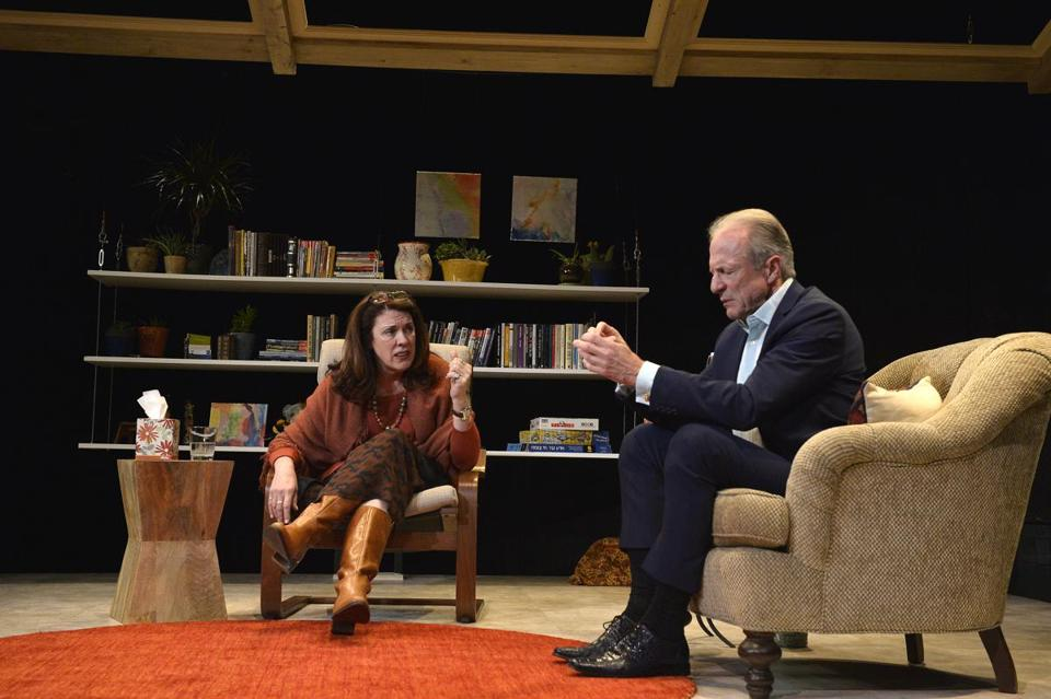 "Maureen Keiller and Will Lyman in Israeli Stage's production of Anat Gov's ""Oh God."""
