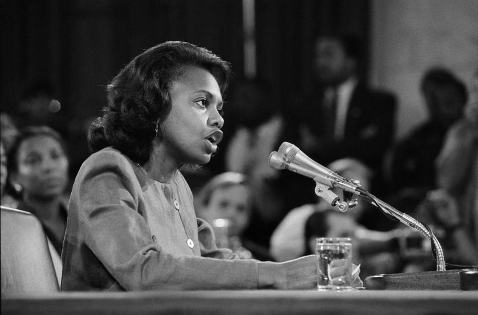Anita Hill testifies during the confirmation hearing for Justice Clarence Thomas on Capitol Hill in 1991.