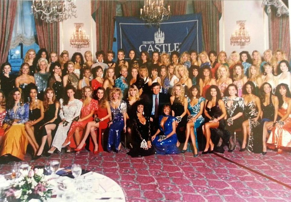 A group photo before the calendar girl competition was held in Atlantic City.