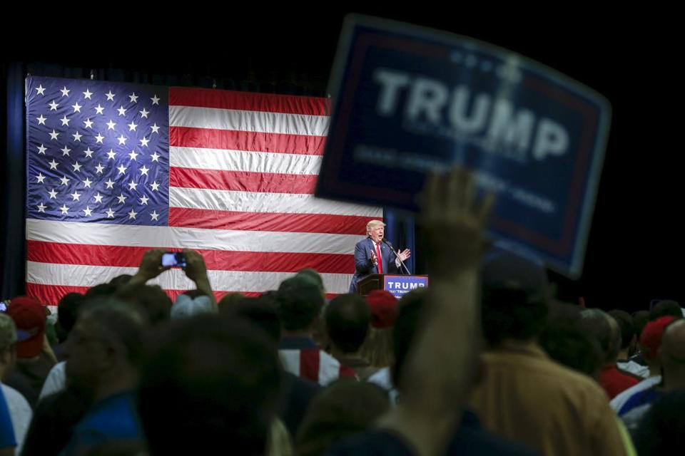 Donald Trump spoke to supporters Sunday during a campaign rally in Poughkeepsie, N.Y.
