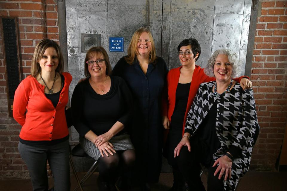 Wicked Cozy Authors are (from left) Liz Mugavero, Sherry Harris, Barbara Ross, Jessie Crockett, and J.A. Hennrikus, and also Edith Maxwell (not pictured).