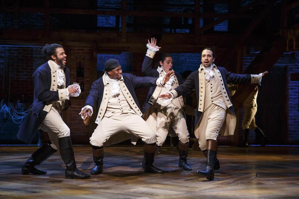 """Hamilton, An American Musical."" Pictured: L-R: Daveed Diggs, Okieriete Onaodowan, Anthony Ramos, and Lin-Manuel Miranda. Photo credit: Joan Marcus -- 07Hamilton"