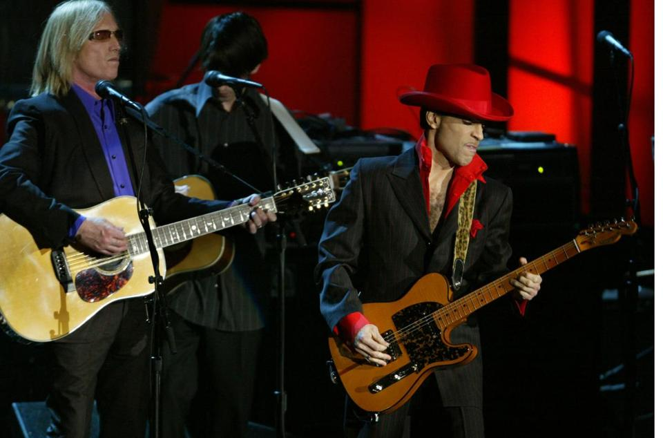 Prince performed with Tom Petty and others at a 2004 Rock and Roll Hall of Fame induction ceremony.