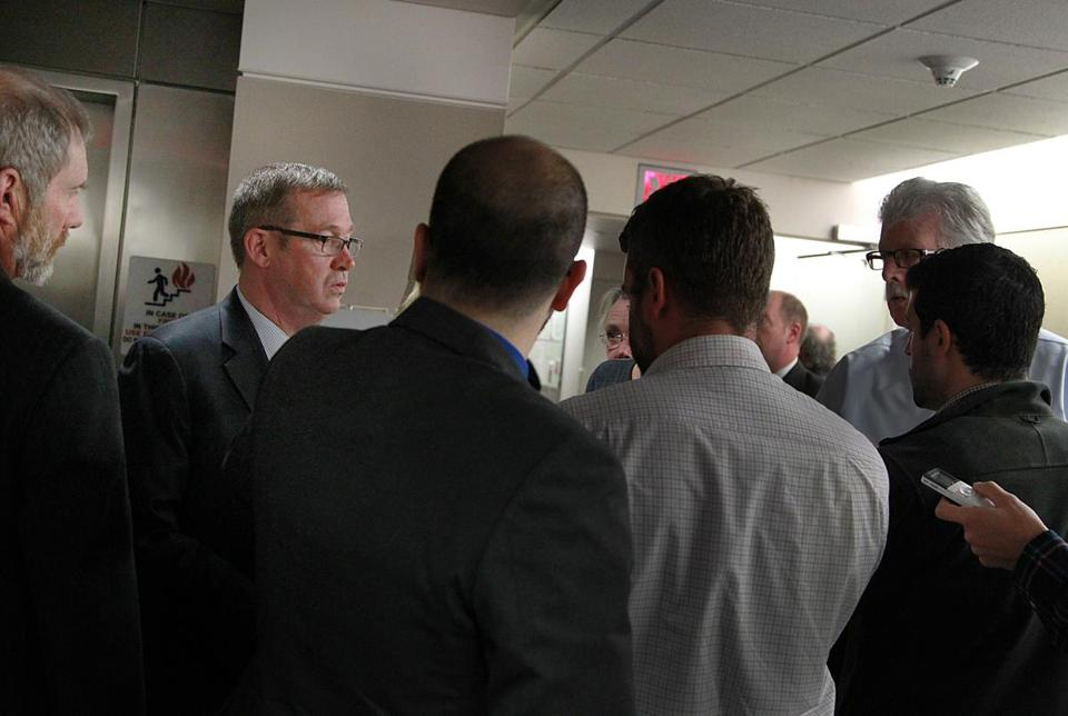 Michael Mulhern, head of the MBTA pension fund,  spoke to reporters after Monday's meeting.