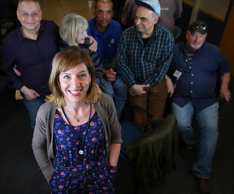 042832016 Chelsea Ma Recovery Coach Raina (cq) at MGH Chelsea Health Center with some in her group. As a Recovery Coach Raina facilitates a weekly support group . Boston Globe/Staff Photographer Jonathan Wiggs