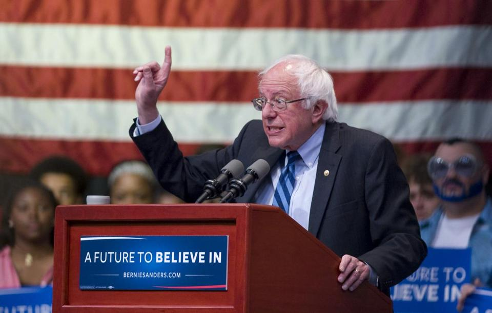 Democratic presidential candidate Bernie Sanders, I-Vt., speaks during a rally in Evansville, Ind., Monday, May 2, 2016. (Denny Simmons/Evansville Courier & Press via AP) MANDATORY CREDIT