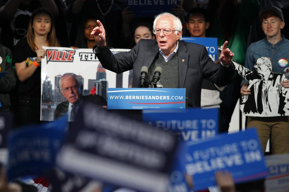 Bernie Sanders spoke Tuesday during a campaign rally in Louisville, Ky.