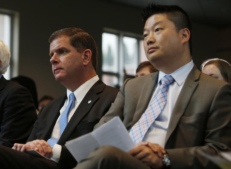 Mayor Walsh and School Superintendent Tommy Chang sat together before announcing the record-breaking enrollment numbers for Boston summer learning programs.