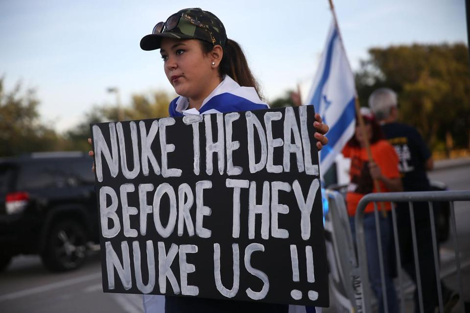 Kayla Marks protests against the Iran nuclear deal on Sept. 3, 2015 in Davie, Fla.