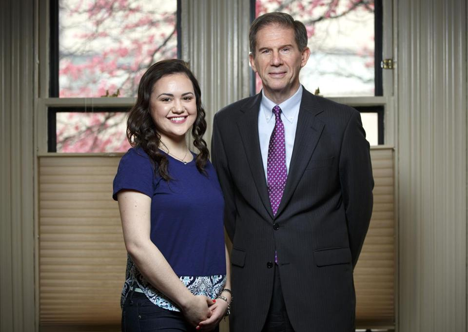 Lesley University president Joe Moore, retiring next month, has introduced the Urban Scholars Initiative, which includes a tuition discount for low-income students like Natalia Rosa who are recommended by local partner nonprofits.  Photo by Dina Rudick/Globe Staff.