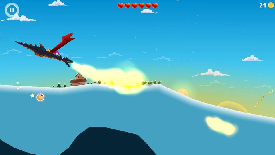 "A screenshot of the mobile game ""Dragon Hills."" The game is an auto-runner, which means your character automatically runs forward through the levels, leaving you in charge only when you jump."