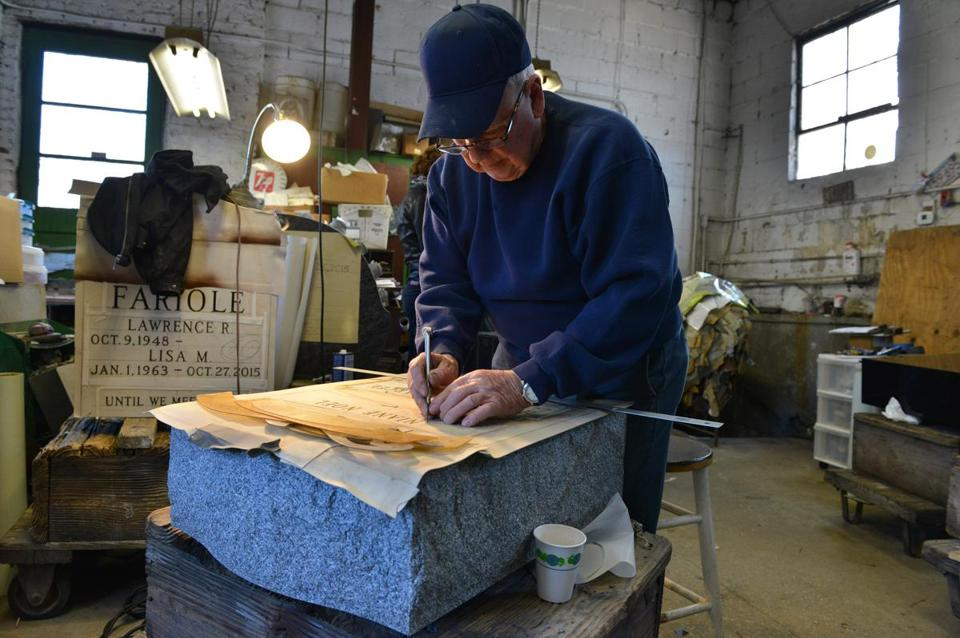 Vice president Arthur DeFilippo prepared a headstone at Woodlawn Memorials in Everett, a family-run business where sales have been declining for a decade.