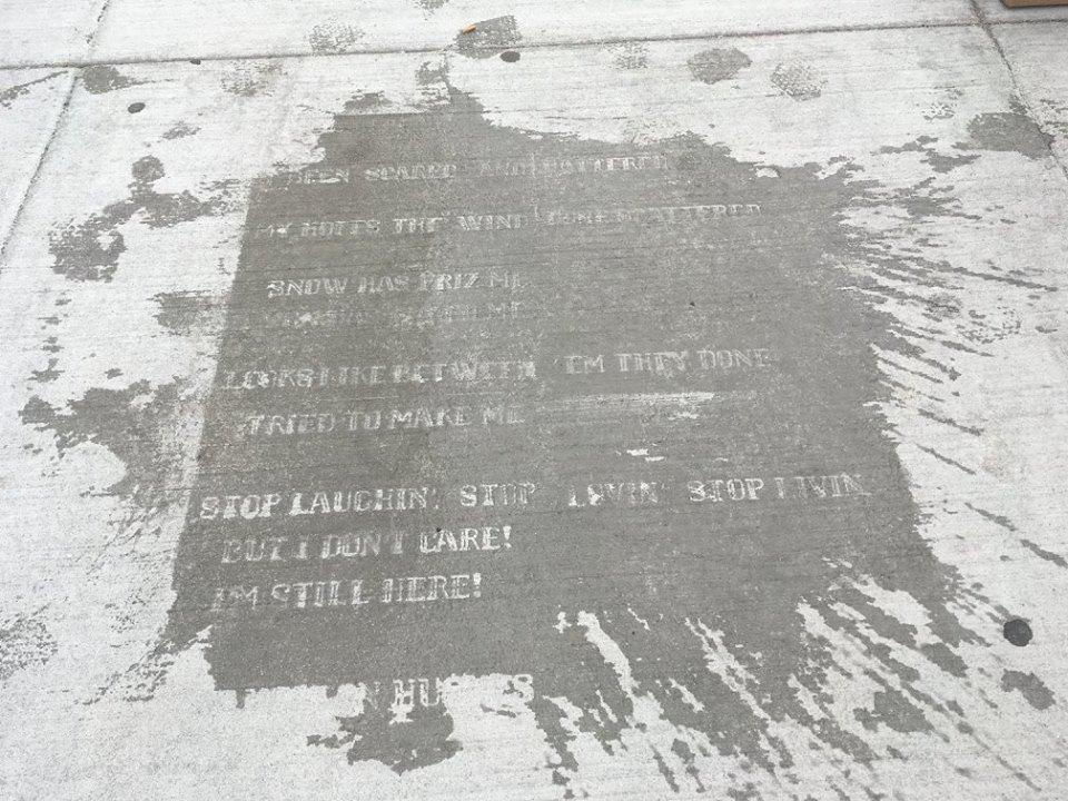 Water-repellent spray wears off in six to eight weeks, allowing poems to become visible when it rains.