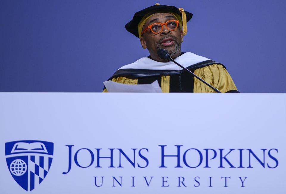 Spike Lee delivers the 2016 commencement address at Johns Hopkins University on Wednesday.