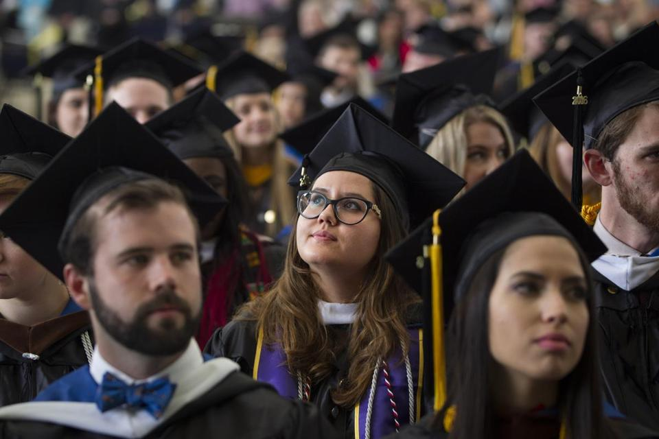 Suffolk University graduates at the school's commencement on Sunday.
