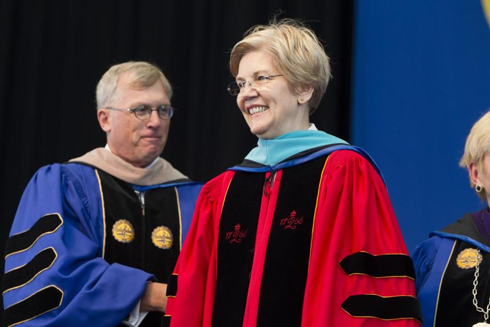 Senator Elizabeth Warren gave a commencement address to Suffolk University graduates.