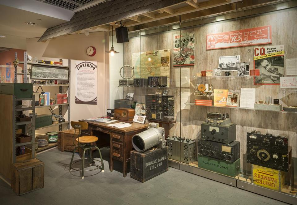 """Radio Contact: Tuning in to Politics, Technology, & Culture"" is on view at the Harvard University Science Center. Above: A mock-up of a ham radio shack."
