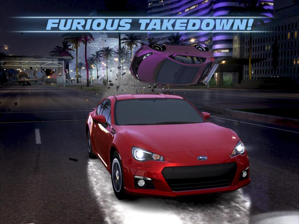 "A screenshot of the mobile game ""Fast and Furious Legacy."" The game has an arcade-game experience with a story line that progresses as you race in different street drag events, outrun police cars, and so on."