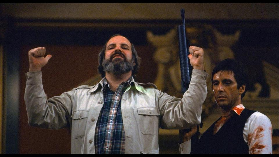 "Brian De Palma on the set of ""Scarface"" with Al Pacino, from the film ""De Palma."""