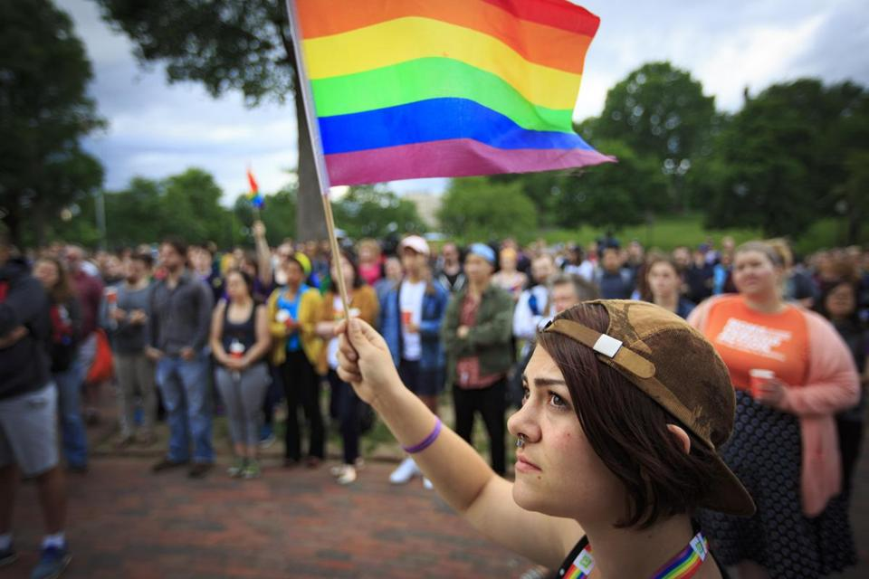 Lauren Blasetti of Medford was one of hundreds who gathered on Boston Common Sunday for a rally in solidarity with the victims of the Orlando shooting.