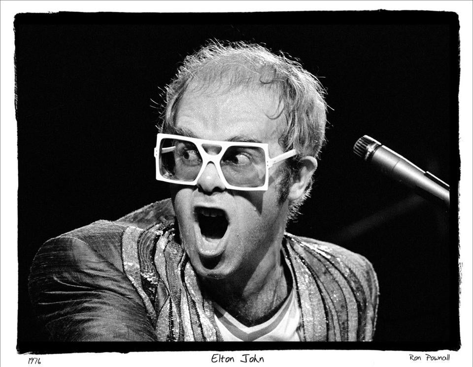 Ron Pownall's shot of Elton John during a 1976 concert at New York's Madison Square Garden is among 49 photographs in the show.