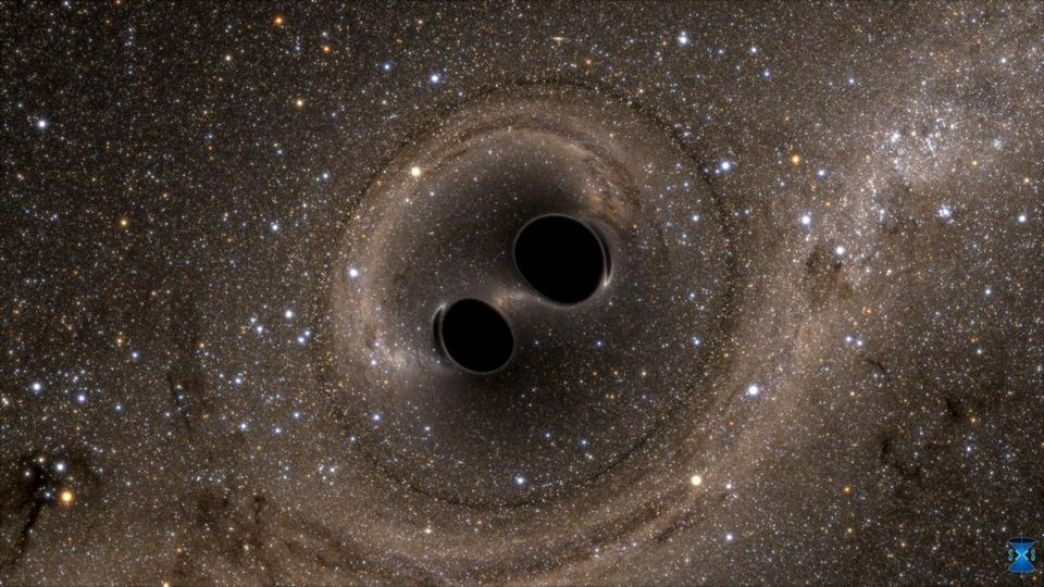 A computer simulation showed the collision of two black holes.