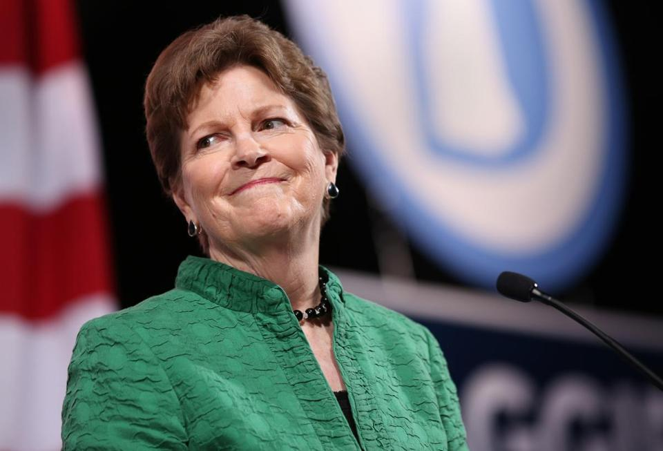 BEDFORD, NH - 6/18/2016: U.S. Sen. Jeanne Shaheen speaks during the New Hampshire Democratic Party State Convention at Bedford High School in Bedford, New Hampshire, on Saturday, June 18, 2016. U.S. Sen. Elizabeth Warren (D-Massachusetts) was the convention's keynote speaker. (Timothy Tai for The Boston Globe)