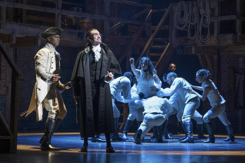 "FILE -- Christopher Jackson, left, as George Washington and Javier Munoz in the title role of the Broadway musical ""Hamilton"" at the Richard Rodgers Theater in New York, Nov. 15, 2015. Even among historians who love the musical and its multiethnic cast, a question has also quietly simmered: does ÒHamiltonÓ really get Hamilton right? (Sara Krulwich/The New York Times)"