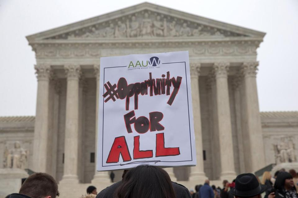 A sign in favor of affirmative action held outside the Supreme Court in 2015.