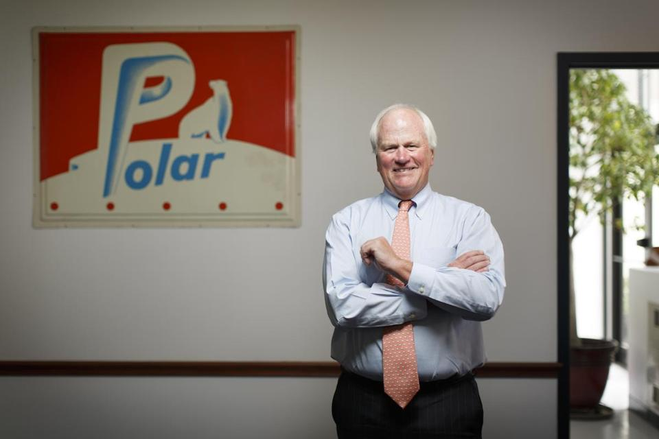 Ralph Crowley is the president and CEO of Polar Seltzer, seen here in front of a vintage Polar Seltzer sign in the company's Museum Room.