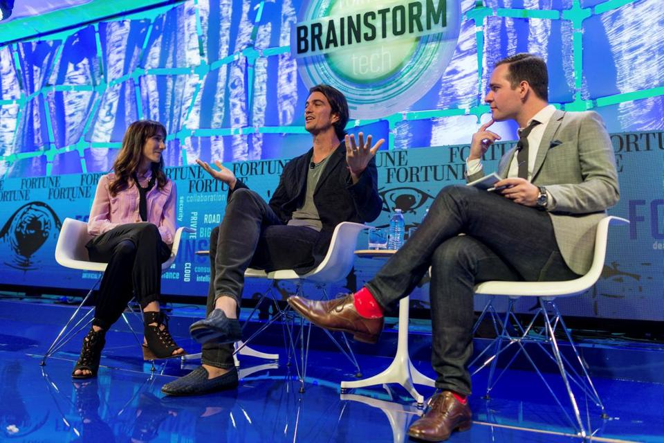 Adam Neumann (center) of WeWork and his wife, Rebekah Neumann, chief brand officer, were interviewed by Fortune's Andrew Nusca last week in Aspen, Colo.