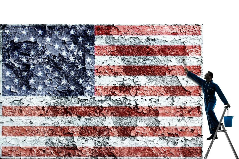 United stage flag over crack and grunge wall texture background.; Shutterstock ID 445599178; PO: 0718_Murray; Client: Op-Ed