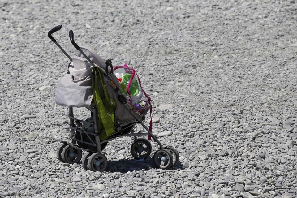 An abandonned baby stroller near the scene of the attack in Nice.