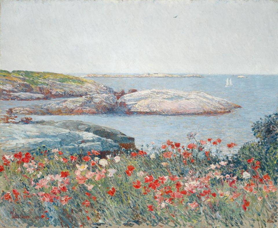 "Detail of ""Poppies, Isles of Shoals,"" part of the Childe Hassam exhibit at the Peabody Essex Museum."