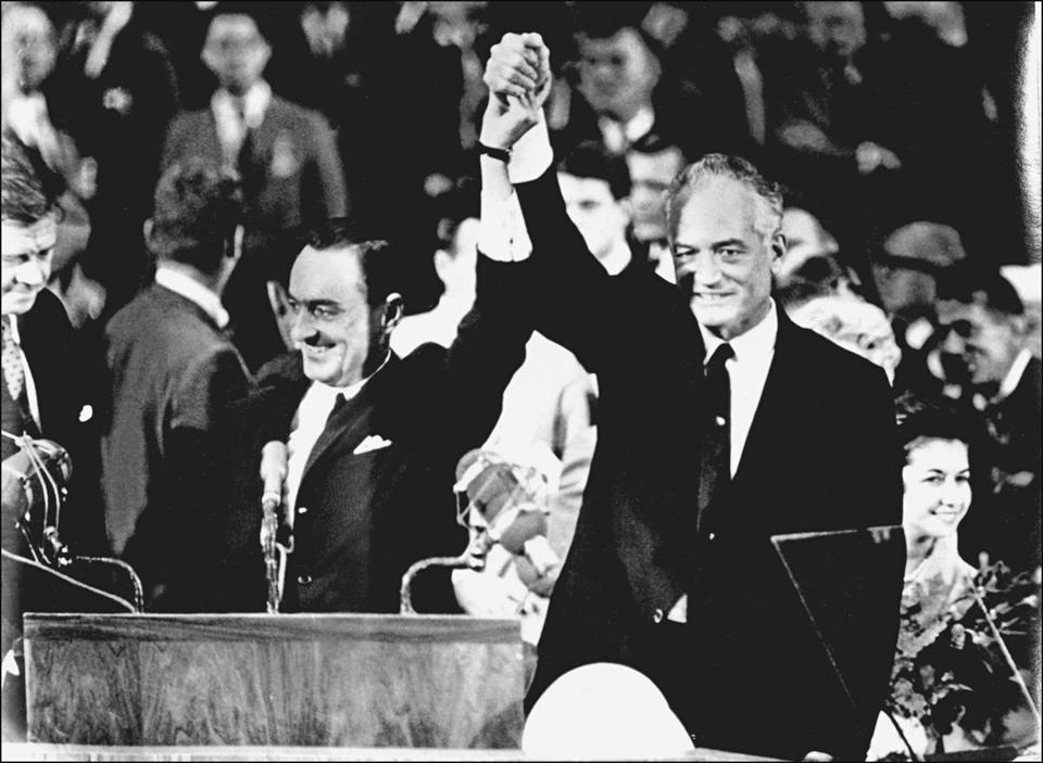 Barry Goldwater (right) and his running mate William Miller accepted the GOP nomination in 1964.
