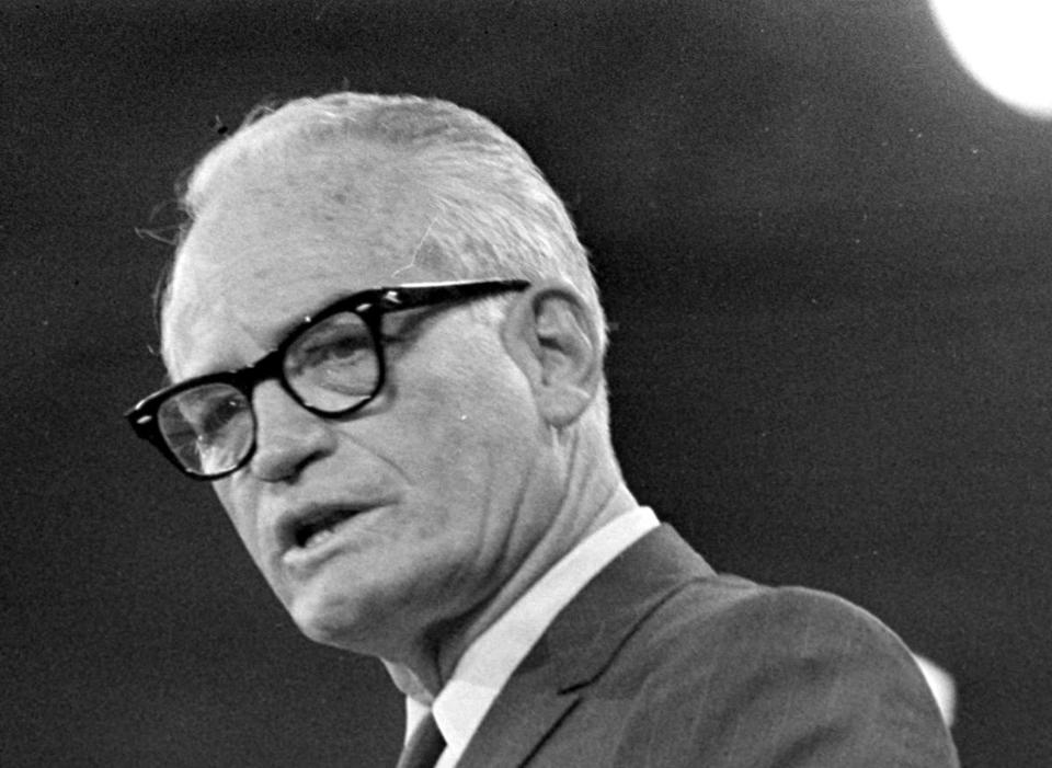 Goldwater addressed the Republican National Convention in 1968.