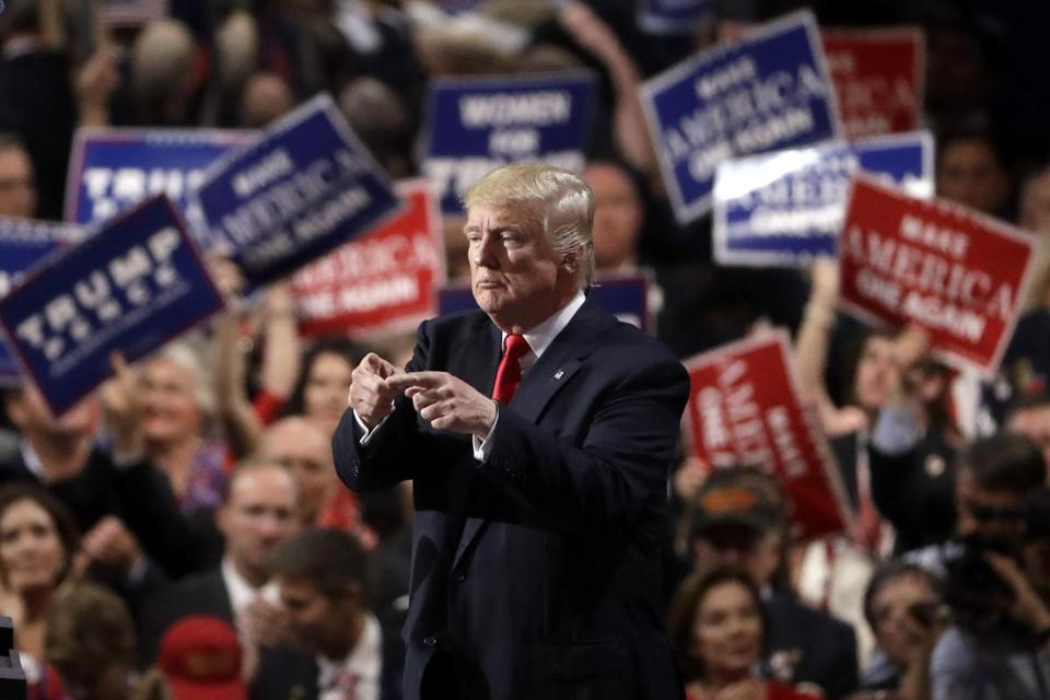 Donald Trump spoke during the final day of the Republican National Convention in Cleveland in July.