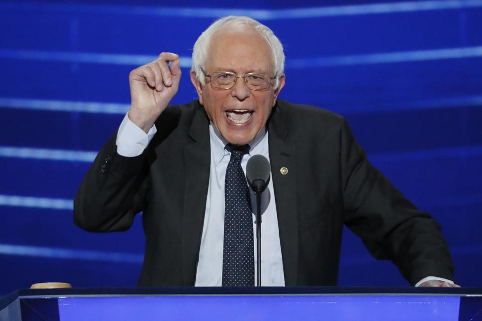 US Senator Bernie Sanders, Independent of Vermont, spoke Monday evening at the Democratic National Convention.