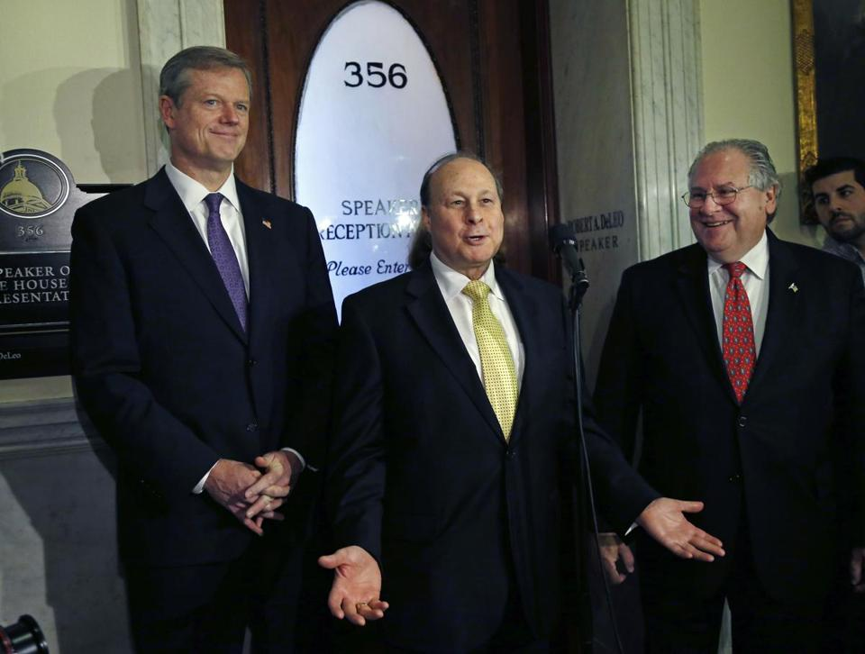 Governor Charlie Baker (left), Senate President Stanley Rosenberg (center), and House Speaker Robert DeLeo in 2014.