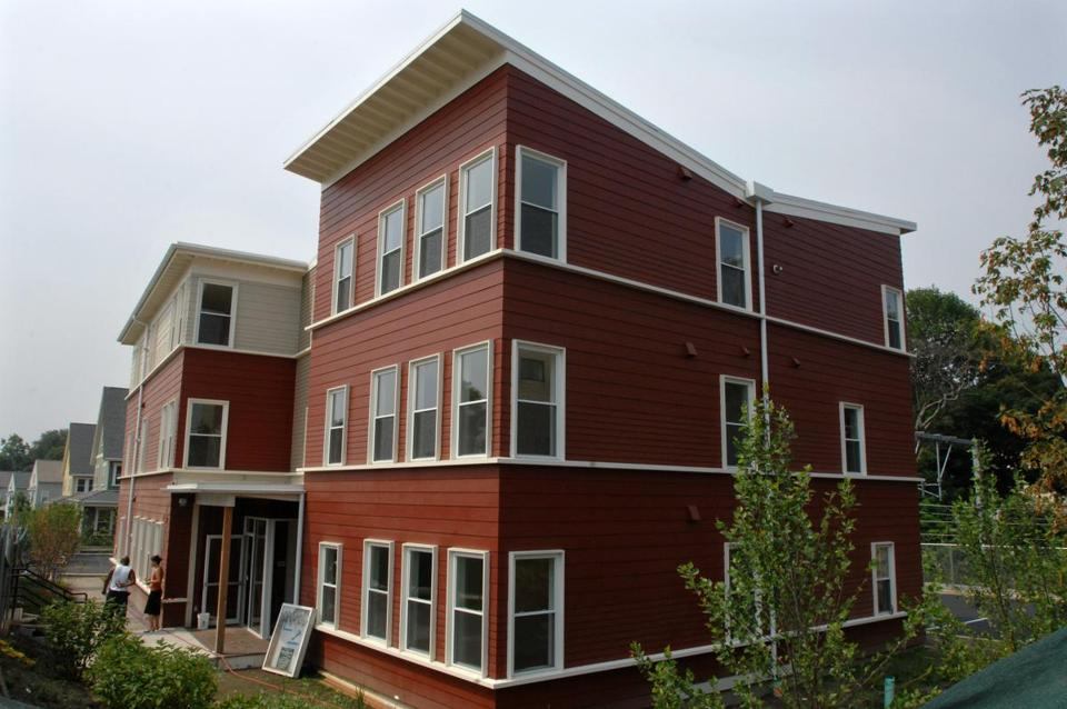 A recently built affordable housing property in Roslindale features many modern design details, such as the butterfly roof, which is both eyecatching and serves to collect rainwater. JOSH REYNOLDS FOR THE BOSTON GLOBE (Biz, Real estate, Correspondent) Library Tag 08032008 Homes